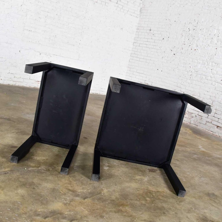 Mid-Century Modern Black Painted Parsons Side Tables 1 Square 1 Rectangle, Pair For Sale 7
