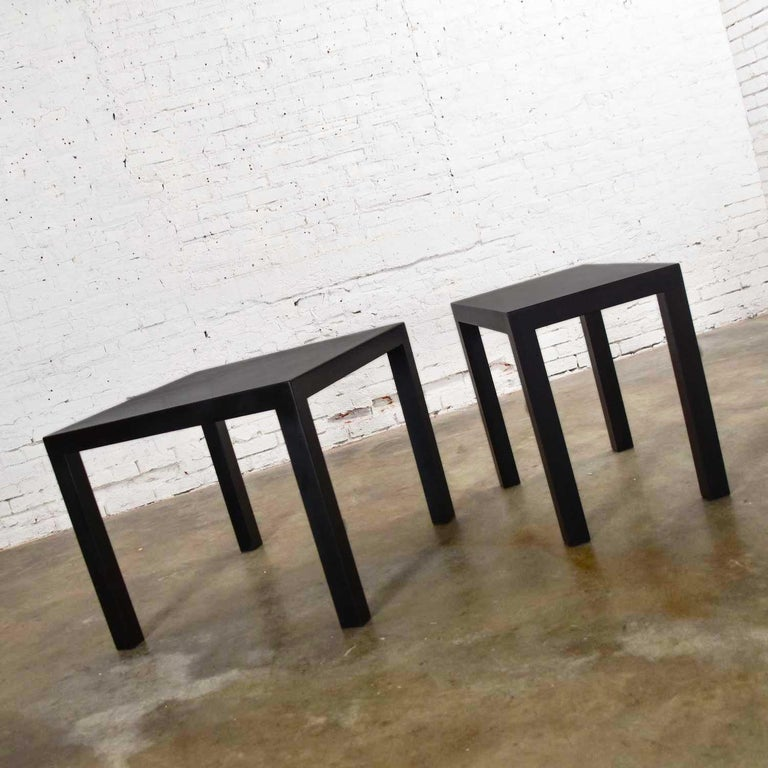 American Mid-Century Modern Black Painted Parsons Side Tables 1 Square 1 Rectangle, Pair For Sale