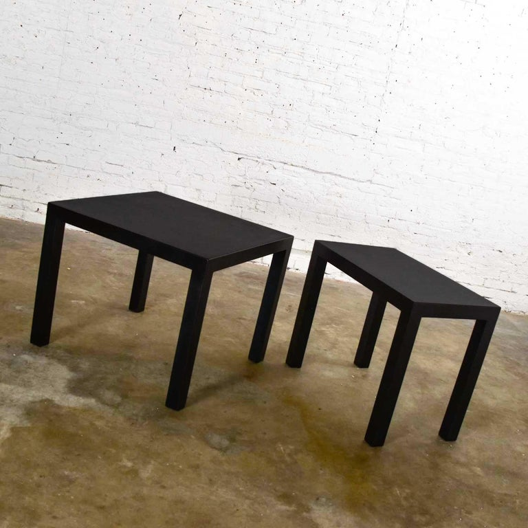 Mid-Century Modern Black Painted Parsons Side Tables 1 Square 1 Rectangle, Pair In Good Condition For Sale In Topeka, KS