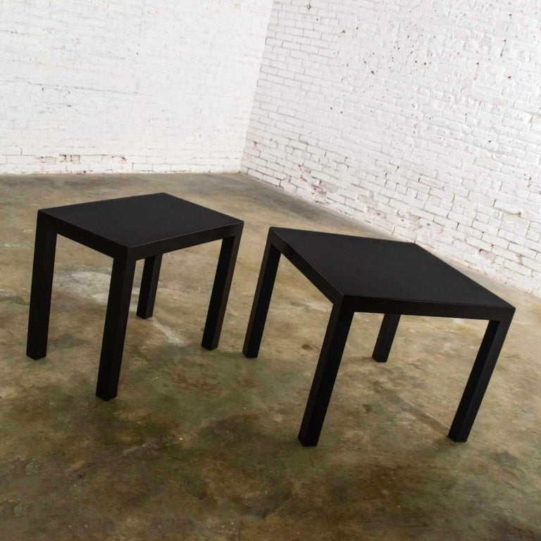 20th Century Mid-Century Modern Black Painted Parsons Side Tables 1 Square 1 Rectangle, Pair For Sale