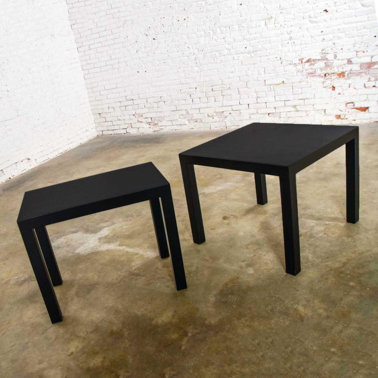 Wood Mid-Century Modern Black Painted Parsons Side Tables 1 Square 1 Rectangle, Pair For Sale