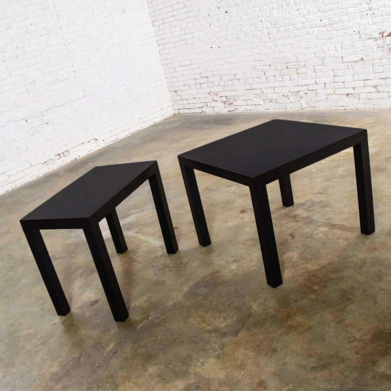 Mid-Century Modern Black Painted Parsons Side Tables 1 Square 1 Rectangle, Pair For Sale 1