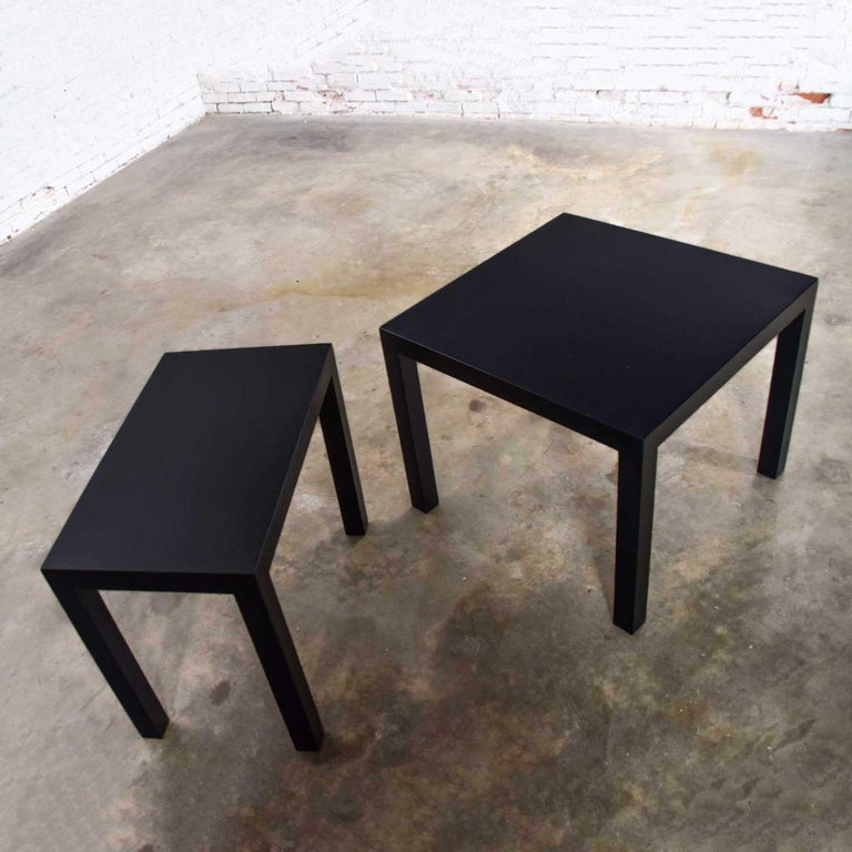 Mid-Century Modern Black Painted Parsons Side Tables 1 Square 1 Rectangle, Pair For Sale 2