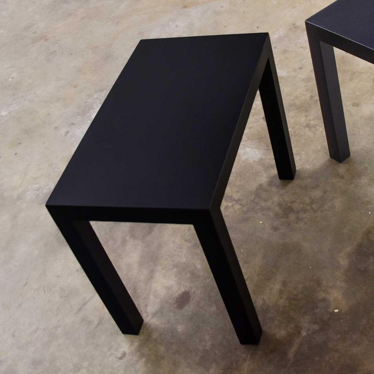 Mid-Century Modern Black Painted Parsons Side Tables 1 Square 1 Rectangle, Pair For Sale 3