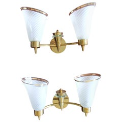 Pair of Mid-Century Modern Brass Wall Lights with Tubular Double Glass Scones
