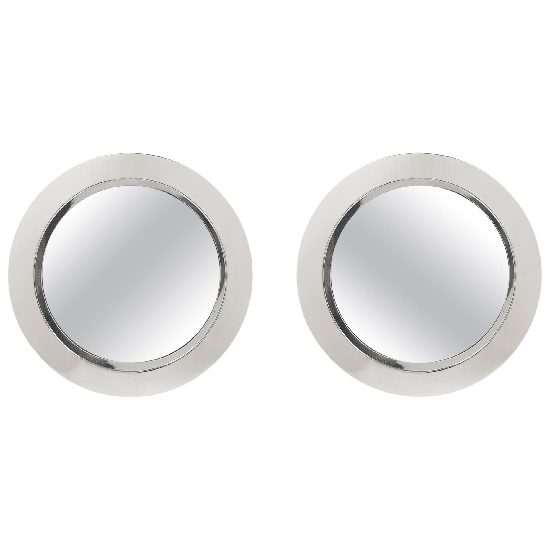 Pair of Mid-Century Modern Circular Porthole Wall Mirror in Chrome, Curtis Jere