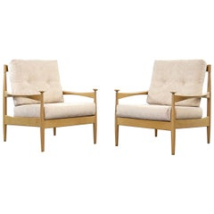 Pair of Mid-Century Modern Easy Chairs in Beechwood Scandinavian, 1960s