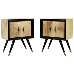 Pair of Mid-Century Modern Ebonized Wood and Parchment Side Cabinets