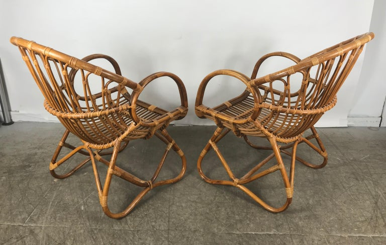 Pair of Mid-Century Modern after Franco Albini Bamboo or Rattan Lounge Chairs In Good Condition For Sale In Buffalo, NY