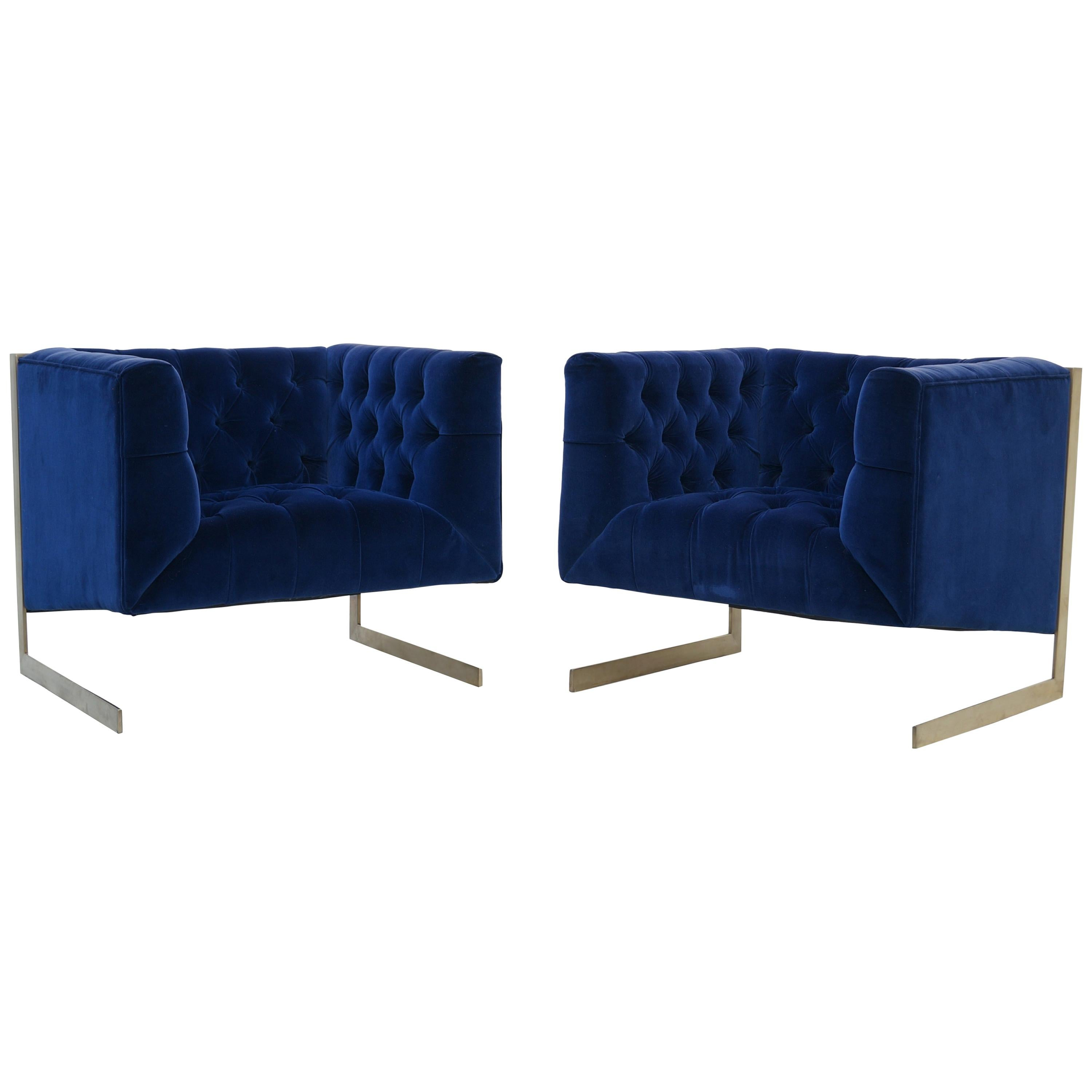 Pair Mid-Century Modern Milo Baughman Style Brass Cantilever Lounge Club Chairs
