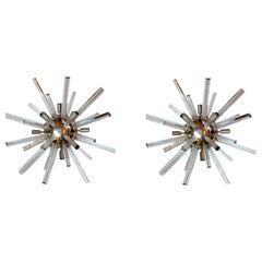 Pair of Mid-Century Modern Murano Glass Sputnik Wall Sconces Lights, circa 1960