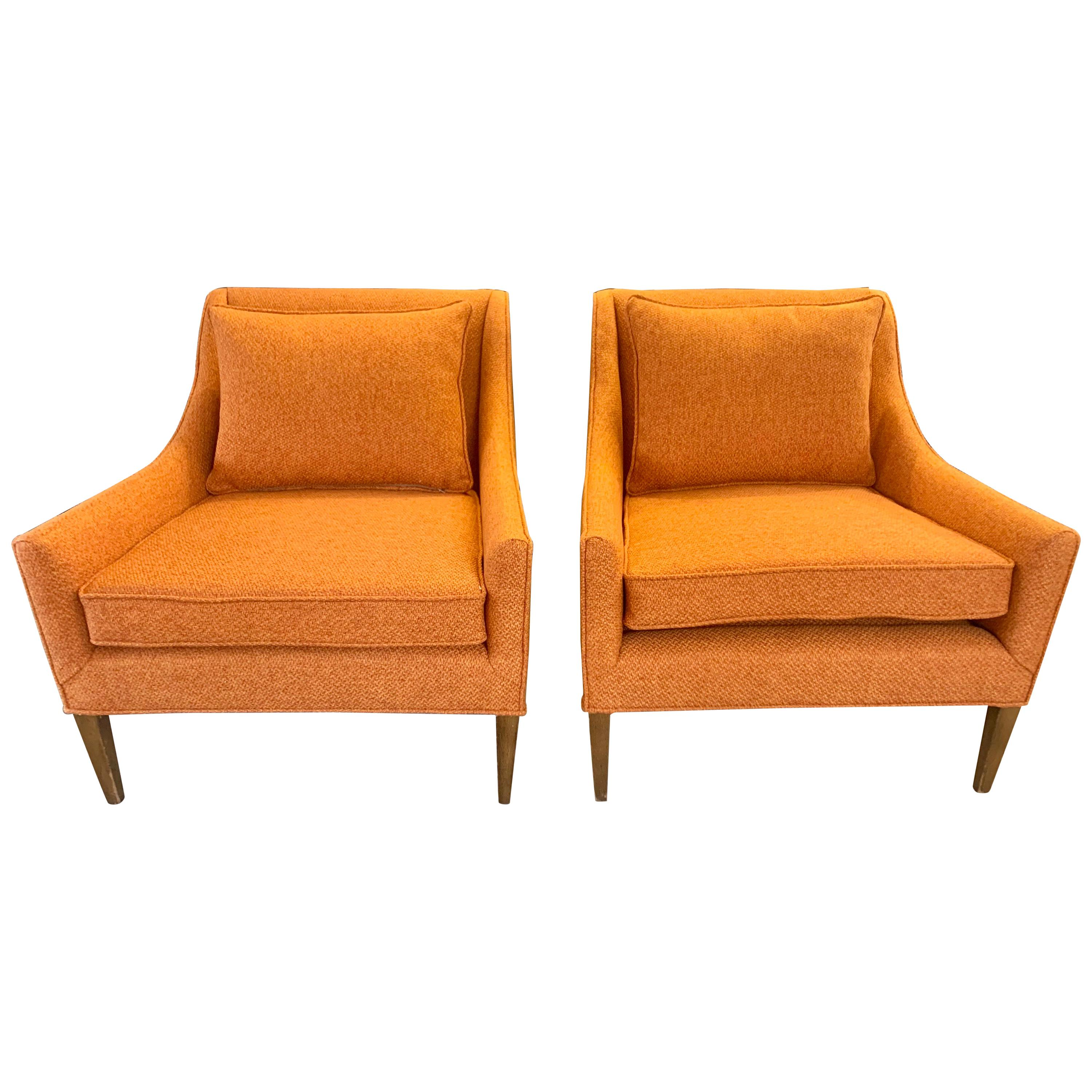 Pair Mid-Century Modern Newly Upholstered in Hermes Orange Colored Fabric Chairs