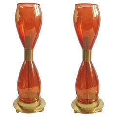 Pair Mid-Century Modern Orange Murano Glass & Brass Lamps Seguso Styl Italy 1970