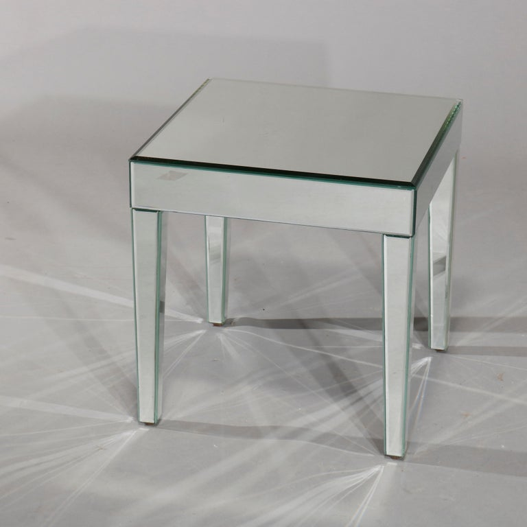 American Pair of Mid-Century Modern Mirrored Glass Side Tables, circa 1960