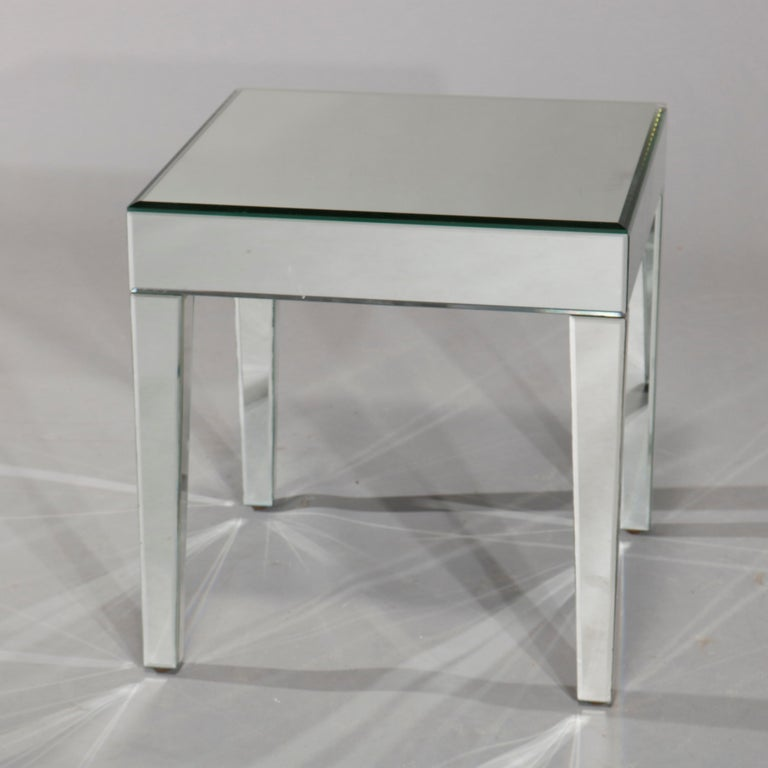 Pair of Mid-Century Modern Mirrored Glass Side Tables, circa 1960 In Good Condition In Big Flats, NY