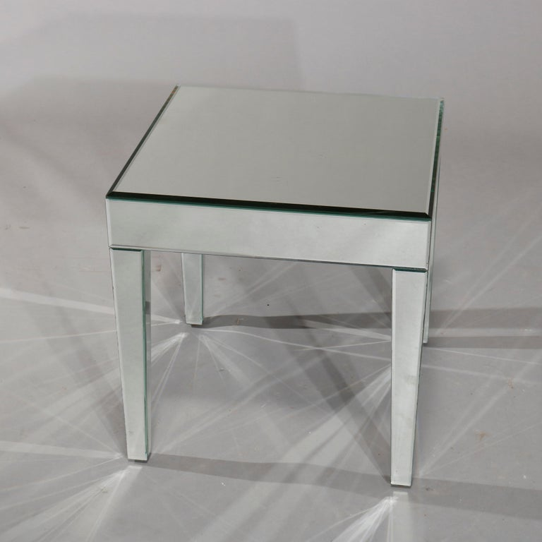 Pair of Mid-Century Modern Mirrored Glass Side Tables, circa 1960 1