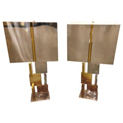 Mid-Century Modern Paul Evans Style Chromalite Chrome and Brass Table Lamps Pair