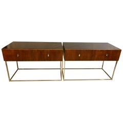 Pair of Mid-Century Modern Rougier Ebony Rosewood Tables, Commodes, Nightstands