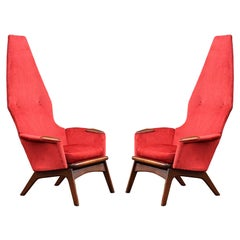 Pair Mid-Century Modern Sculptural High Back Lounge Chairs by Adrian Pearsall