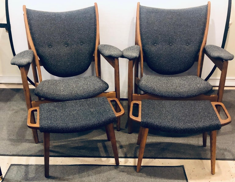 Pair of Mid-Century Modernsleek & stylish arm chairs with ottomans each having new tweed tufted upholstery.   Chair: 37 inches H x 33 inches W x 28 inches D $2,900 for 2 Ottoman: 15 1/2 inches H x 24 inches W x 14 inches D $650 for 2