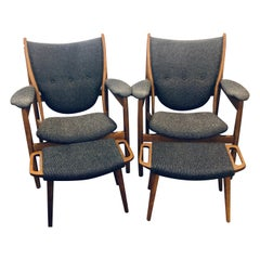 Pair of Mid-Century Modern Sleek & Stylish Arm Chairs with Ottomans