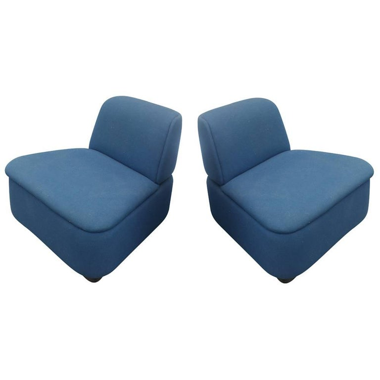 Pair of Mid-Century Modern Thonet Lounge Slipper Chairs For Sale