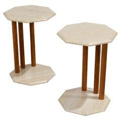 Pair of Mid-Century Modern Travertine Side Tables