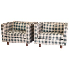Pair of Mid-Century Modern Upholstered Pillow Back Cube Chairs in Plaid