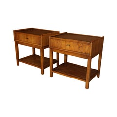 Pair of Mid-Century Modern Walnut Caning Nightstands