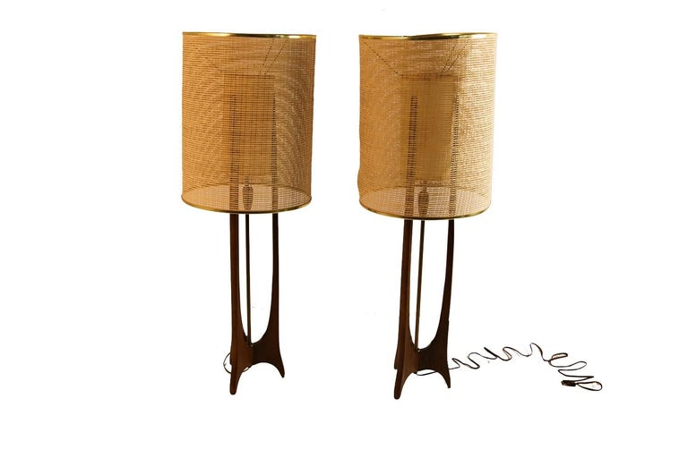 American Pair of Mid-Century Modern Walnut Lamps Adrian Pearsall Style