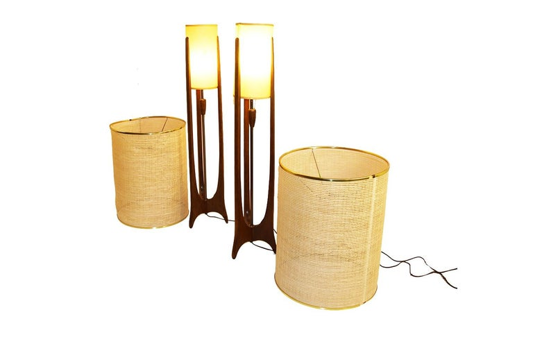Pair of Mid-Century Modern Walnut Lamps Adrian Pearsall Style 2