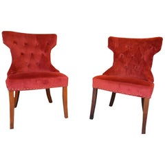 "Pair of Mid-Century Modern ""Winged"" and Tufted Back ""Hollywood"" Chairs"