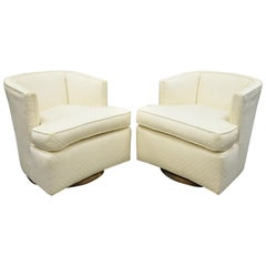 Mid-Century Modern Wood Base Swivel Club Lounge Chairs after Milo Baughman, Pair