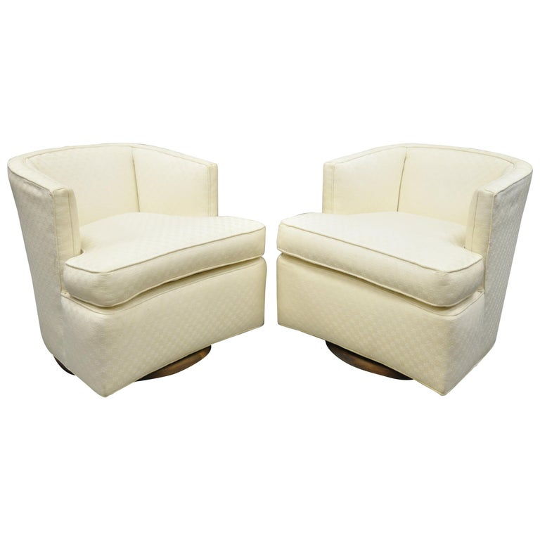 Marvelous Mid Century Modern Wood Base Swivel Club Lounge Chairs After Milo Baughman Pair Onthecornerstone Fun Painted Chair Ideas Images Onthecornerstoneorg