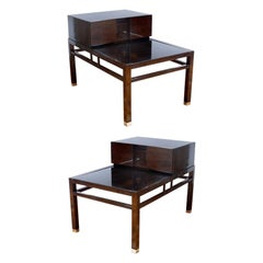 Pair of Midcentury One-Drawer Walnut End Tables