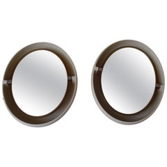 Pair of Midcentury Oval Movable Bathroom Mirrors with 4 Bulbs