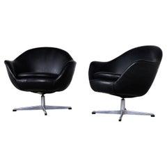 Pair Mid Century Overman Carl Eric Klote Swedish Swivel Chairs