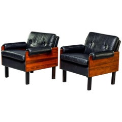 Pair of Midcentury Scandinavian Rosewood and Leather Armchairs