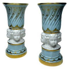 Pair of Midcentury Sèvres Style French Gilt Porcelain Bisque Parian Vases Urns