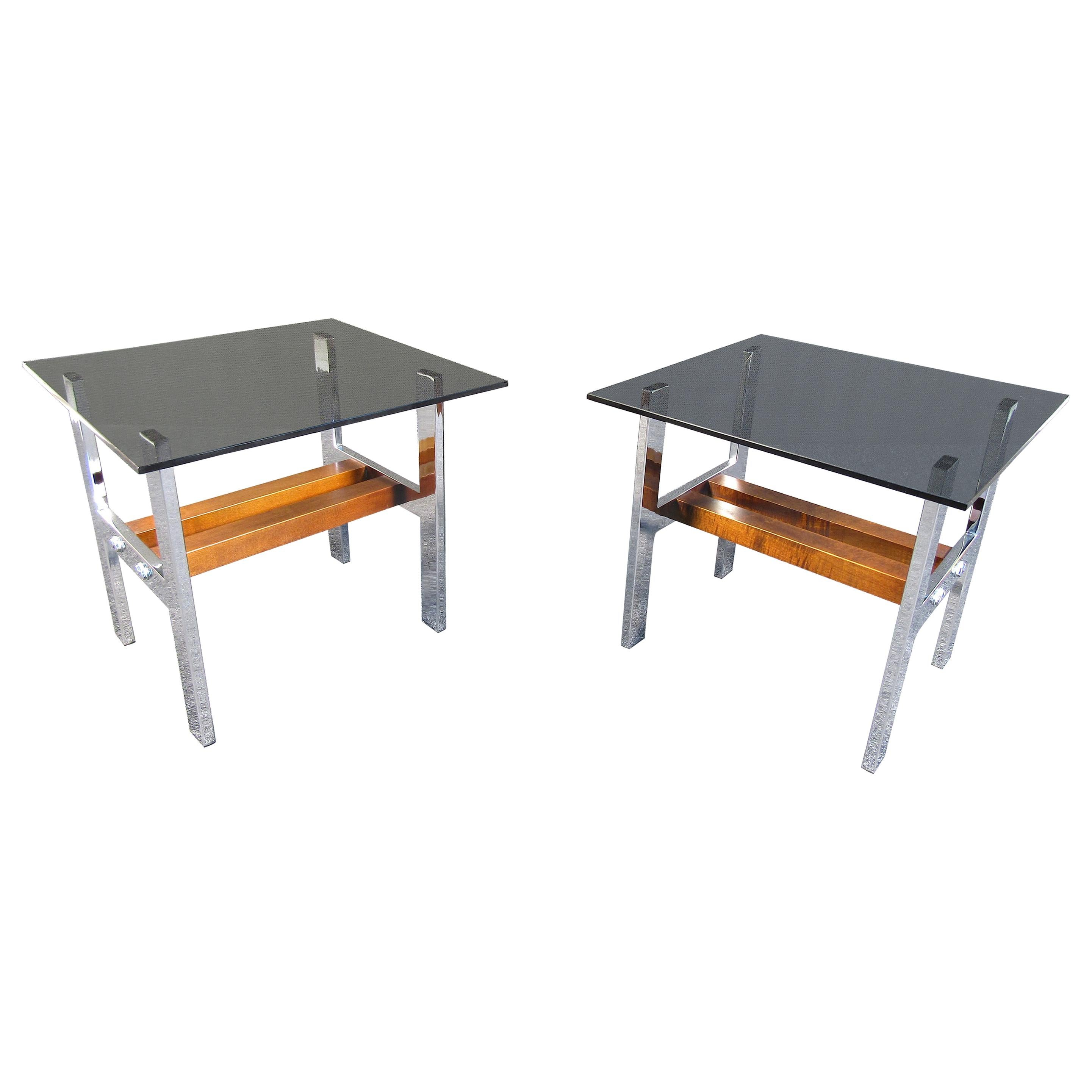 Pair of Midcentury Smoked Glass and Chrome Coffee Tables