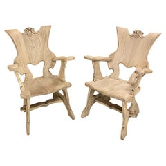 Pair Mid-Century Solid Wood Sculpted Armchairs