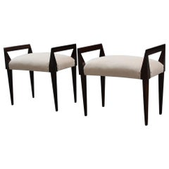 Pair of Midcentury Stools Italian Design Walnut Beige Velvet Geometric Shape
