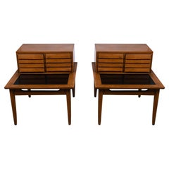 Pair Mid Century Two Tier End Tables Nightstands American of Martinsville
