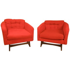 Pair of Midcentury Upholstery Lounge Chairs in Adrian Pearsall Style