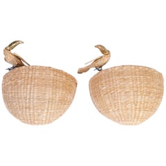 Pair of Midcentury Wicker Wall Sconces with Toucans by Mario Torres