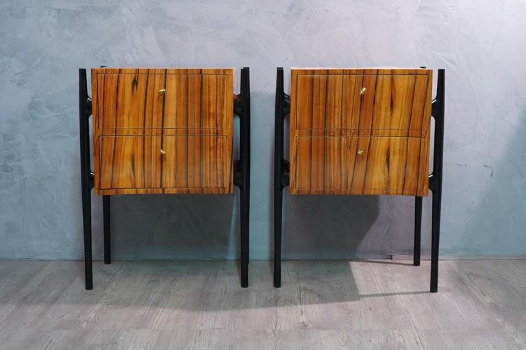 Pair of Midcentury Cherrywood Large Nightstands, 1950 For Sale 1