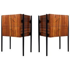 Pair of Midcentury Cherrywood Large Nightstands, 1950
