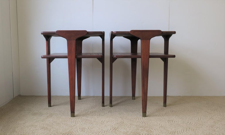 Brass Pair Midcentury End or Night Stand Tables For Sale