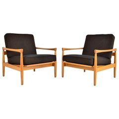 Pair of Midcentury Erik Wørts Oak Lounge Chairs for Broderna Andersson, Sweden