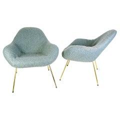 Pair of Midcentury Fritz Neth Sheep Wool Fabrik Lounge Chairs, 1950s, Germany